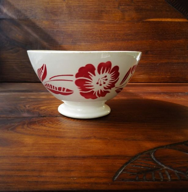 Vintage French 1940s Large Digoin Cafe Au Lait Bowl With Red Rose Country Kitchen Decor By Pentyofamelie On Gourmly