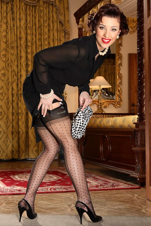 1503113939f Secrets In Lace — Our Vintage Dot Seamed Stocking is the perfect way ...