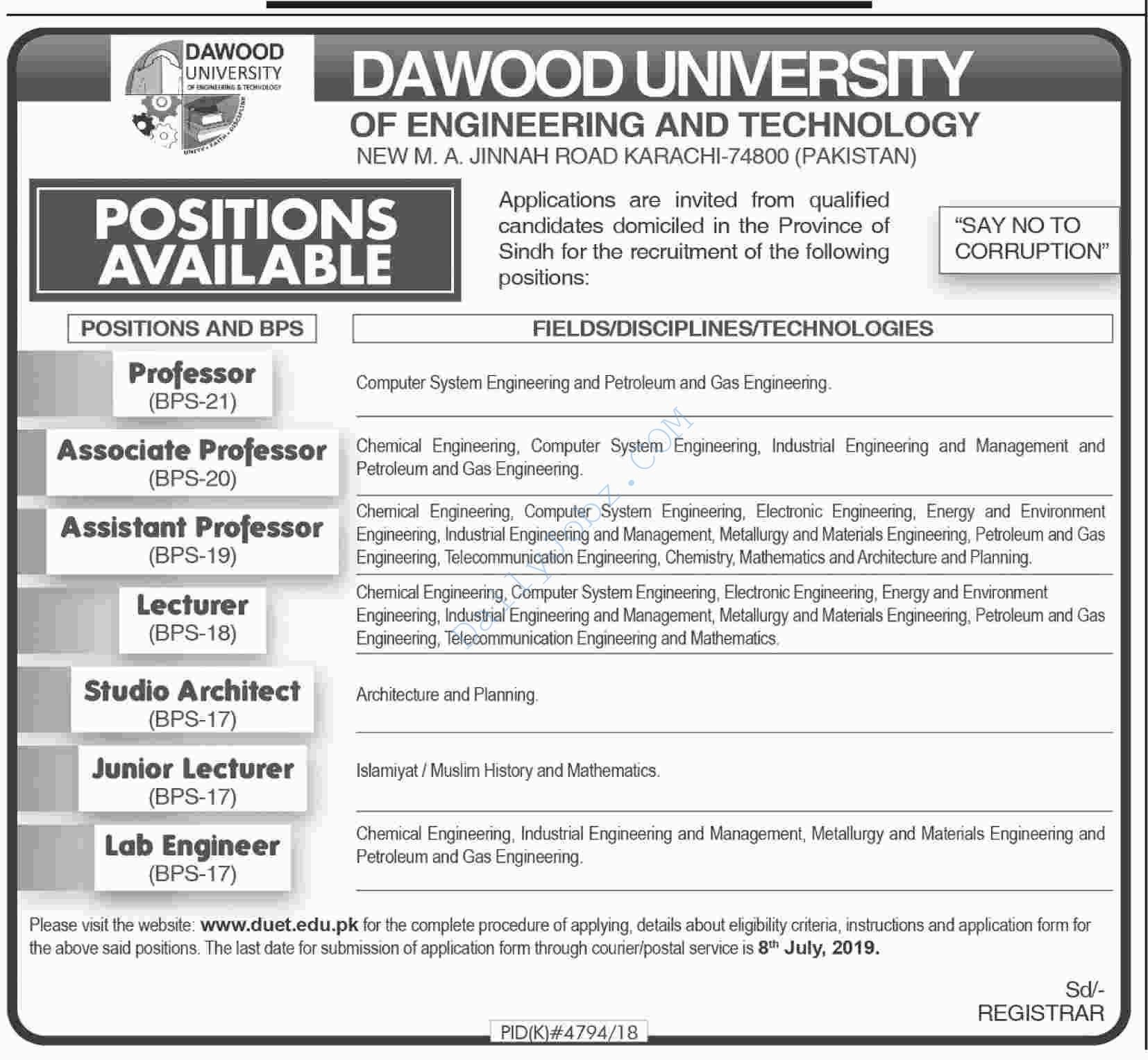 Dawood University Of Engineering And Technology Karachi Lab