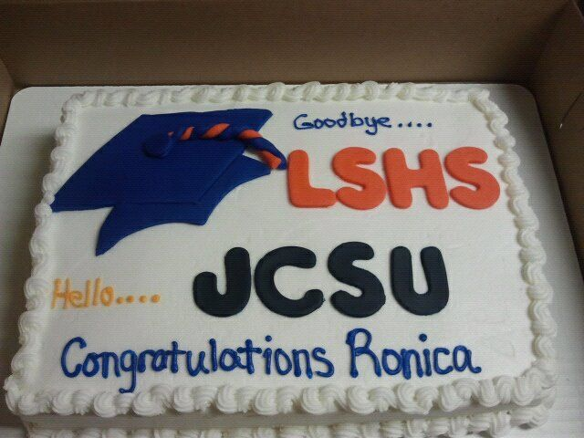 Sheet cake with fondant graduation cap and letters | My ...