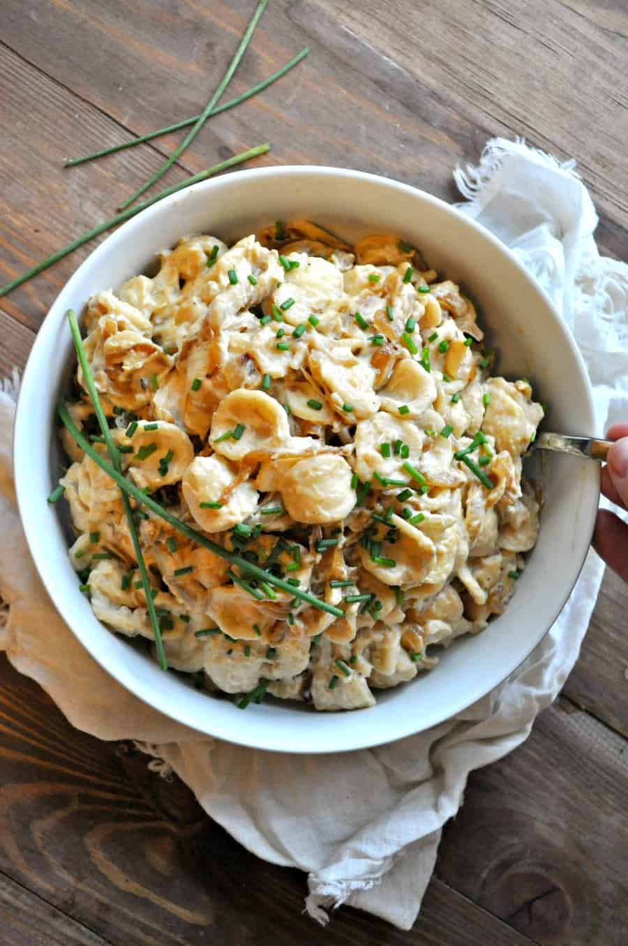 Vegan French Onion Dip Pasta - Rabbit and Wolves