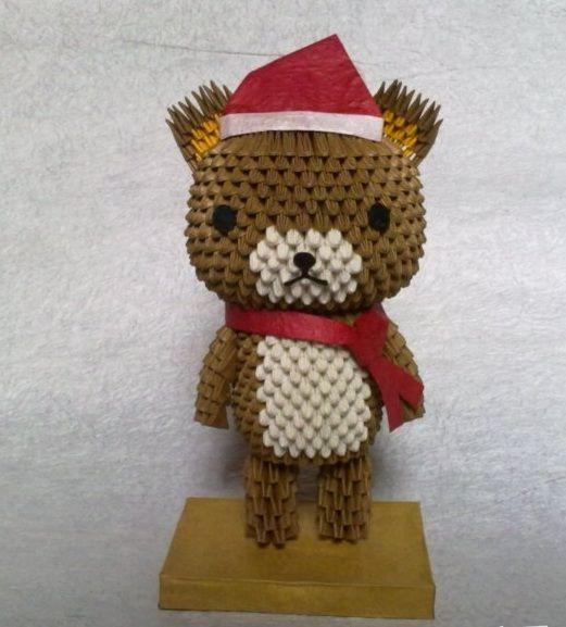 Origami Santa Ornament: 3D Origami - Santa Bear