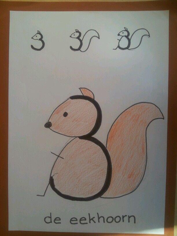 tekening maken bij cijfer 3 | rekenen - art for kids, art drawings