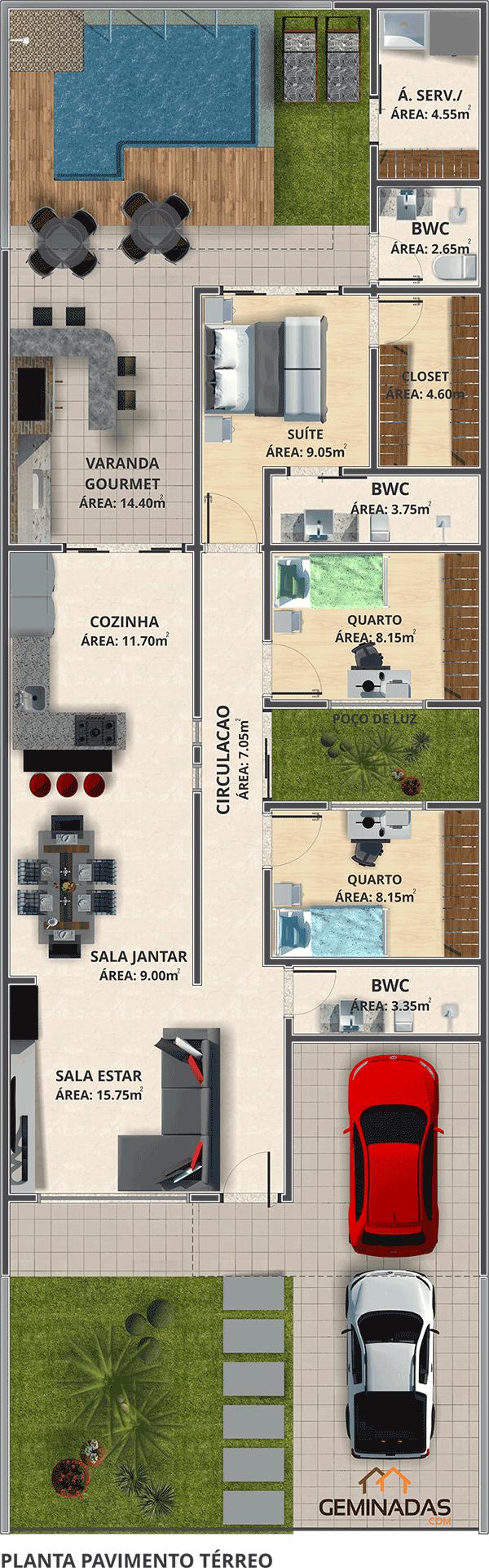 Bom projeto loteamento monaco casa for Casa minimalista 80 metros