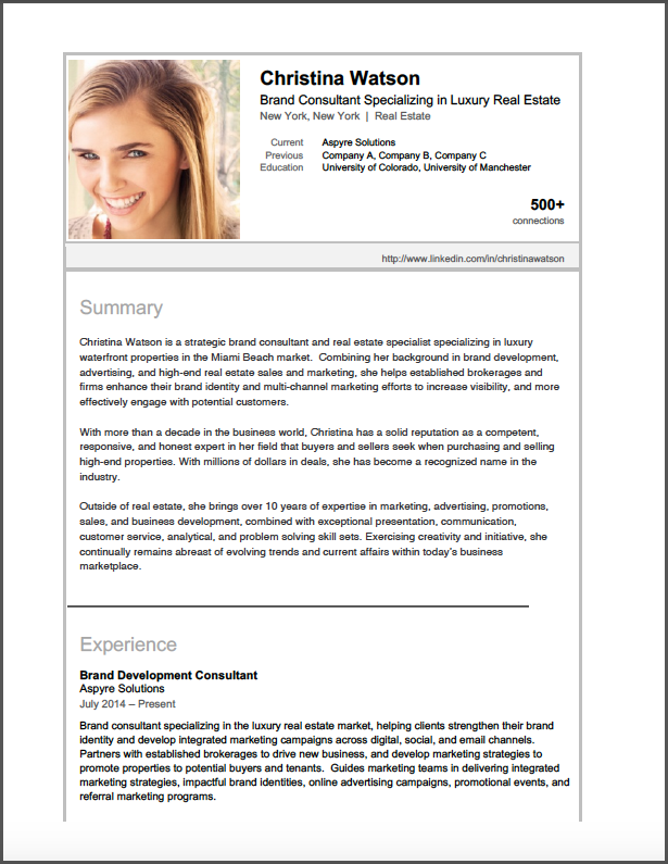 Sample LinkedIn Profile  Brand Consultant  Brooklyn Resume Studio  Creative Resume  Cover