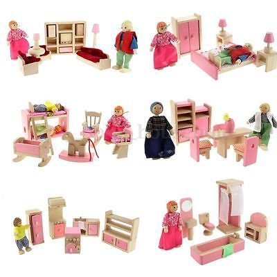 Wooden Furniture Dolls House Family Miniature 6 Set Room Child Kids Gift Toy
