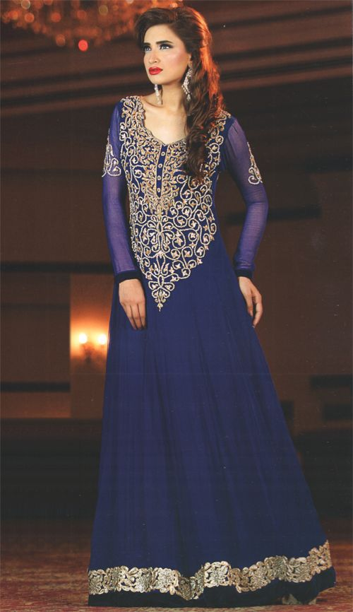 e7616596cb Latest Pakistani Royal Blue Frock Churidar Pajama | Deemas ...