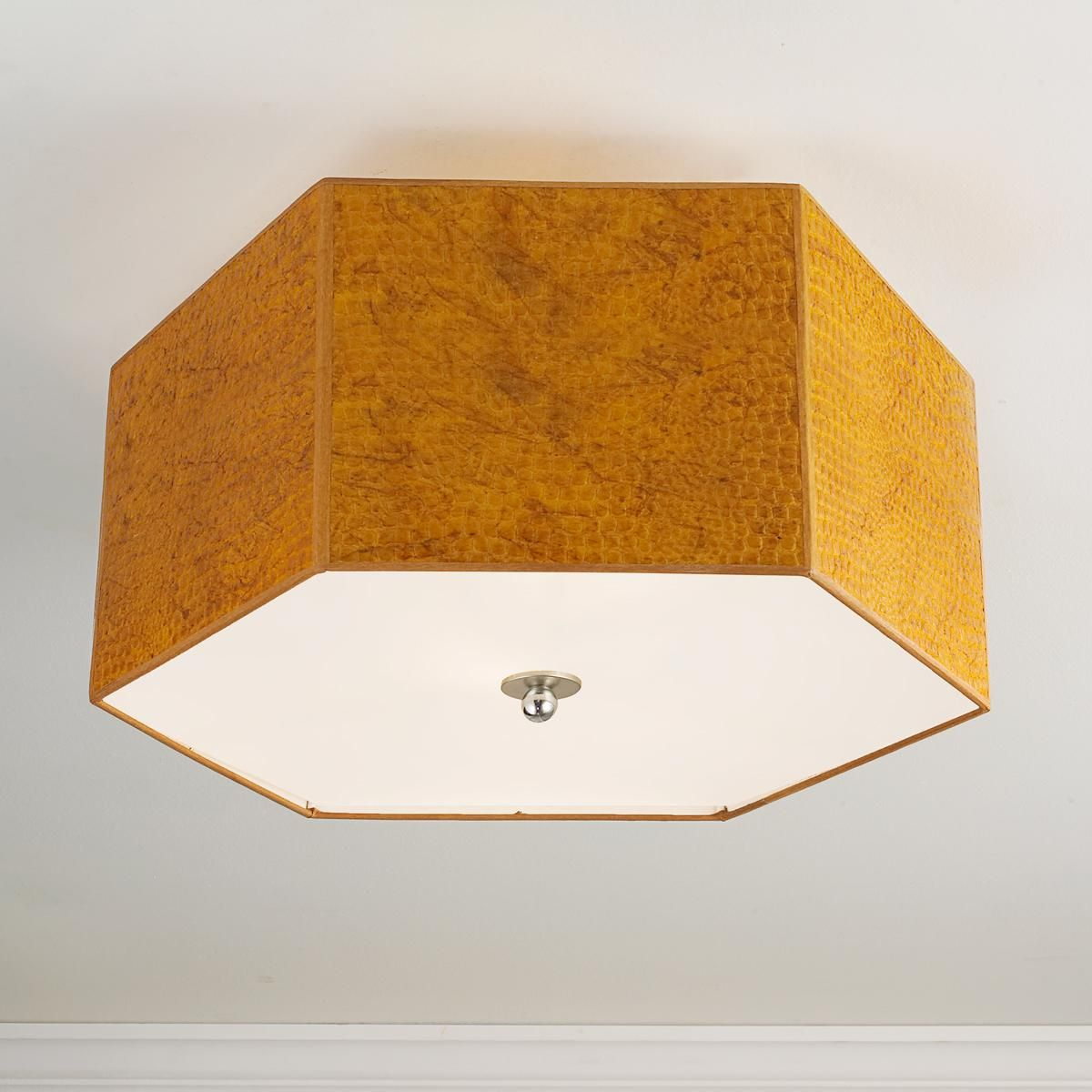 Crocodile Shade Ceiling Light Cover In Trellis Wall Paper