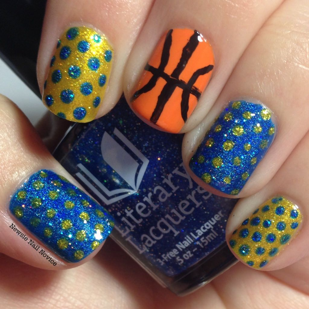 Golden State Warriors basketball nail art featuring Literary Lacquers  Curious Yellow and Blue Lullaby - Golden State Warriors Basketball Nail Art Featuring Literary