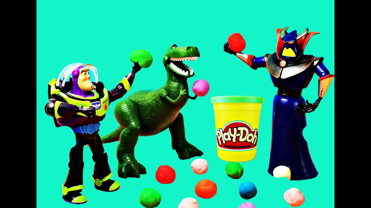 Play Doh Dodge Ball With Toy Story Buzz Lightyear And Rex With Sesame Street Cookie Monster In 2020 Toy Story Buzz Lightyear Monster Cookies Toy Story Buzz