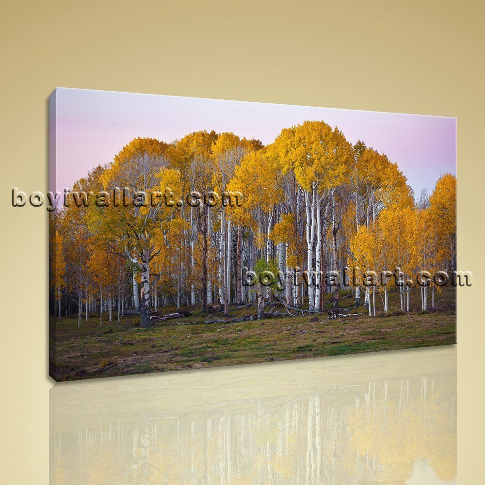 Large deciduous forest fall landscape on canvas art print home decor