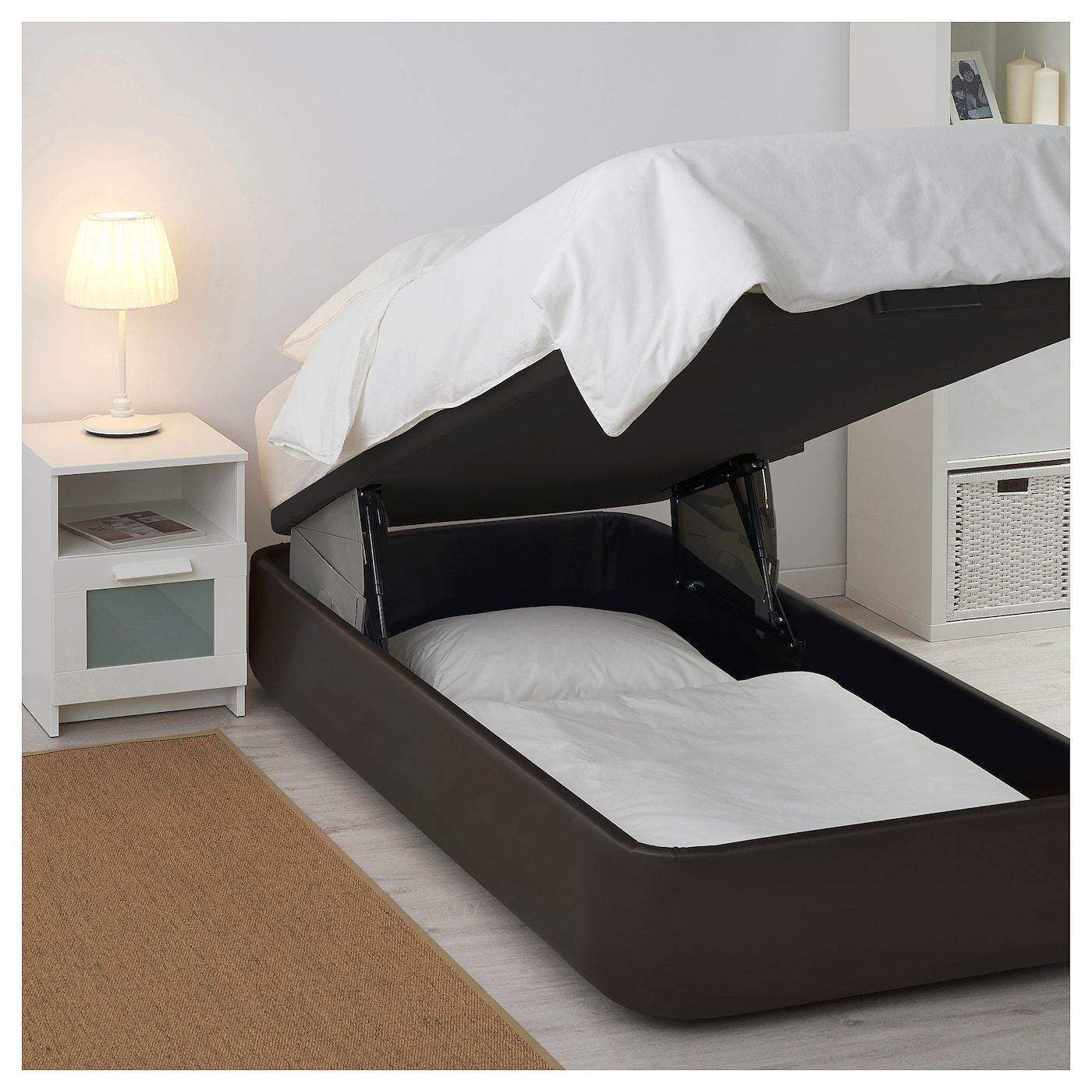 Kvitsoy Upholstered Ottoman Bed Bomstad Dark Brown Ikea Ottoman Bed Upholstered Ottoman Bed