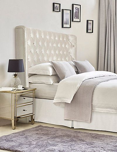 Evelyn Bedside Table Home Decor Winged Headboard Fabric