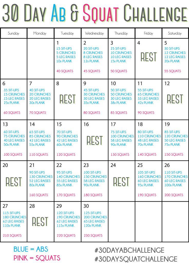 30 Day Ab Amp Squat Challenge 30dayabchallenge 30daysquatchallenge Springintoshape Pinterest