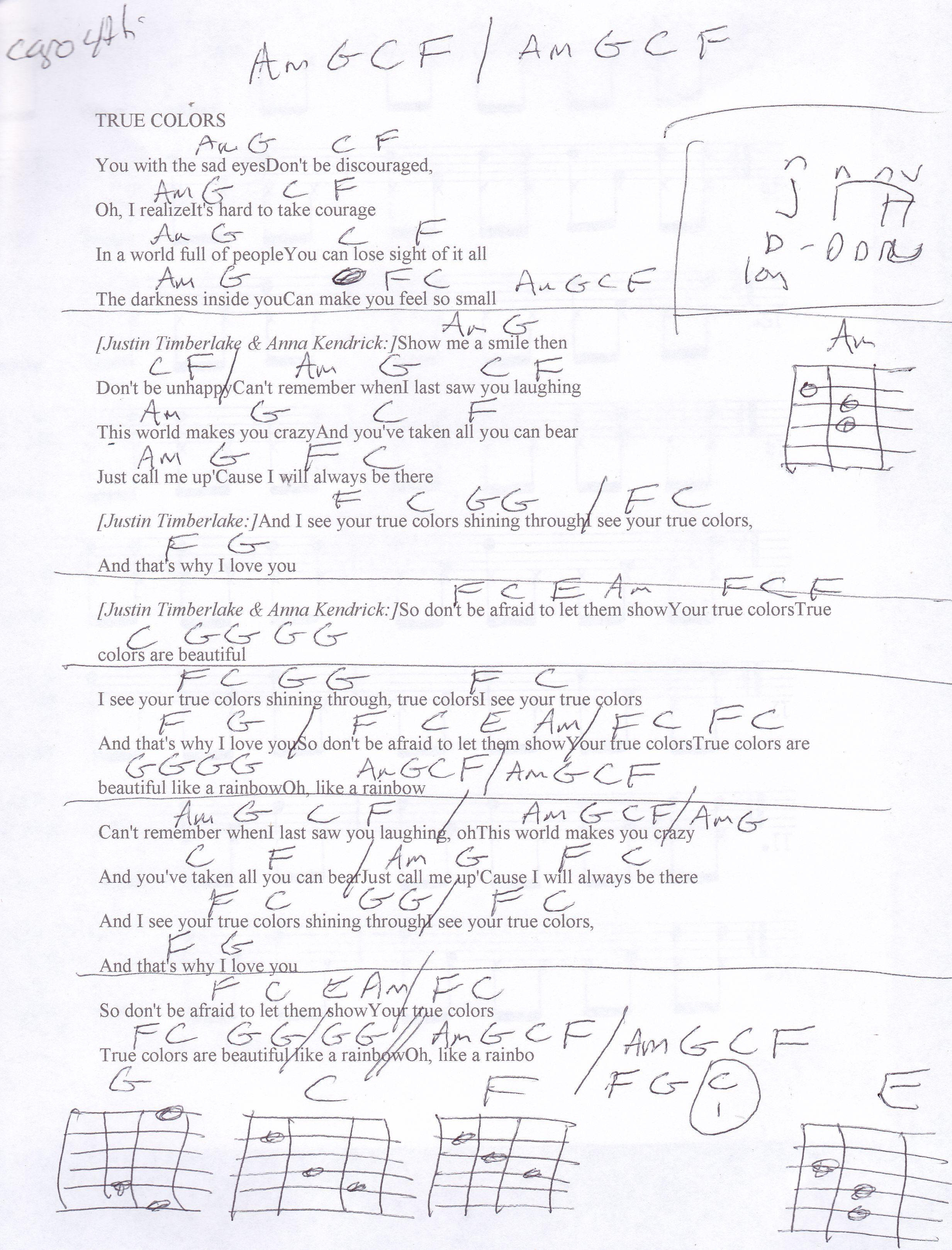 True Colors Justin Timberlake Guitar Chord Chart Capo 4th