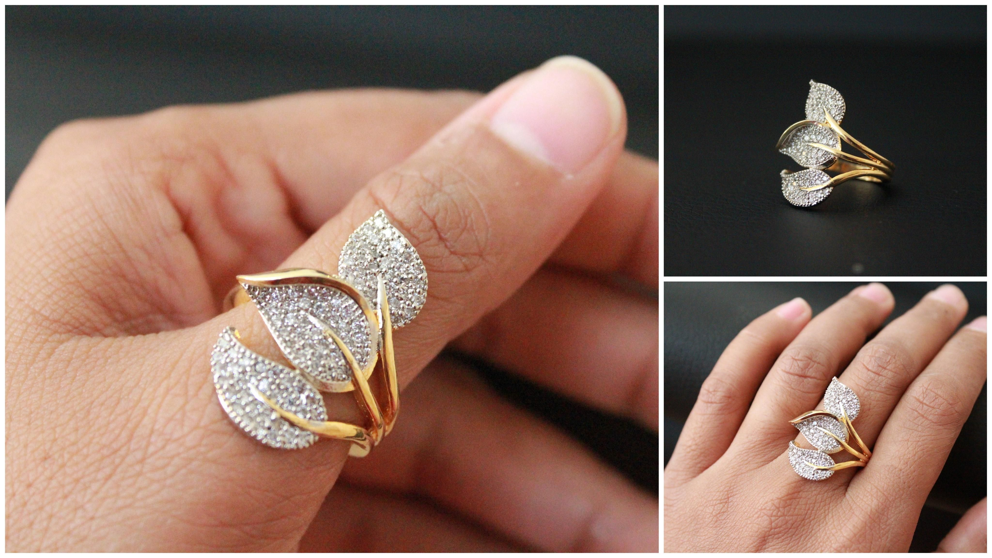 Gold plated finger ring 3 leaf designNon adjustable Diameter 1 8