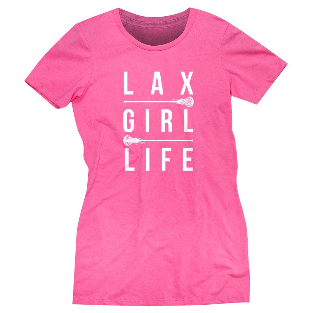 a7b64dae Girls Lacrosse Fitted Tee - Lax Girl Life | Hot Pink, Women's, 2XL | Girls  Lacrosse Apparel