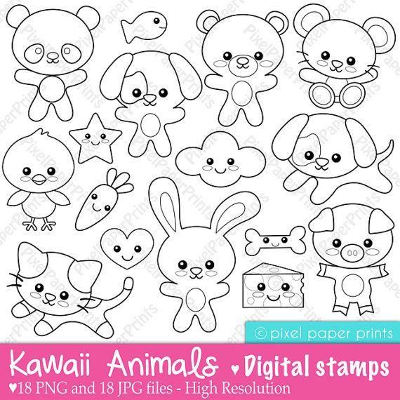 Kawaii Animals Digital Stamps Ricami E Pizzi X Bambini Pinterest