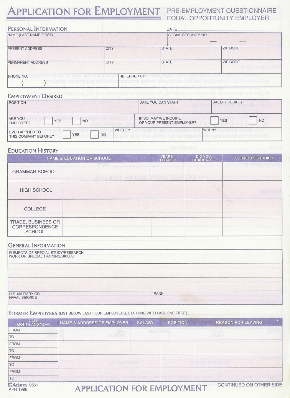 Standard Job Application With Emergency Contact Form Printable