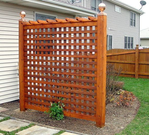 Backyard privacy trellis since we can 39 t afford a fence a for Lattice screen fence