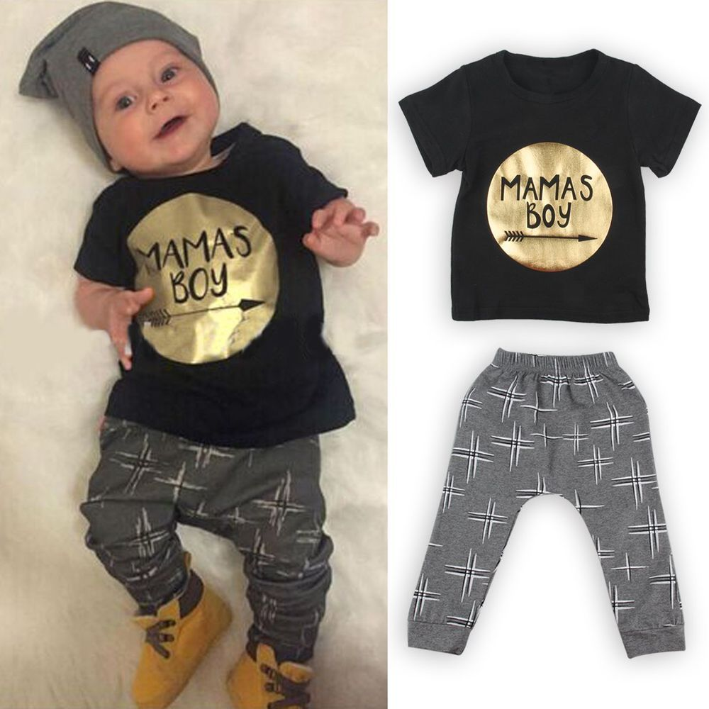 ed163ac33 2pcs Newborn Toddler Infant Kids Baby Boy Clothes T-shirt Tops+Pants ...