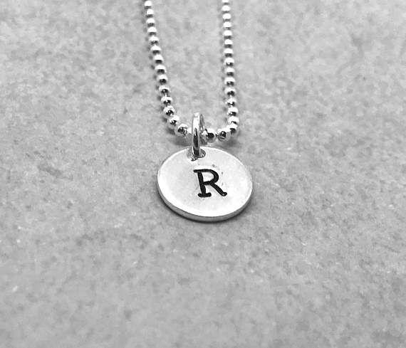 letters necklase sterling silver handmade
