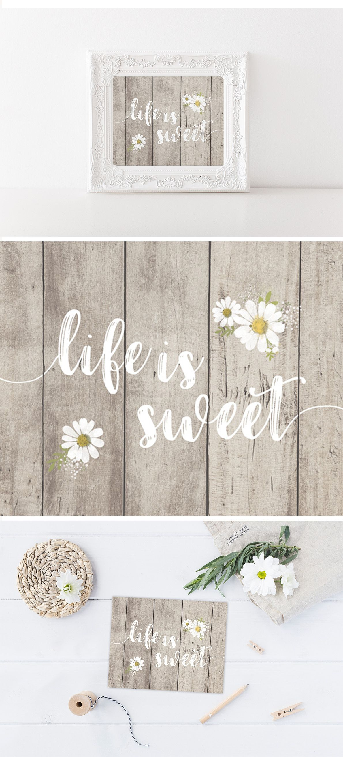10x10 Girls Bedroom: Life Is Sweet - Lettered Print