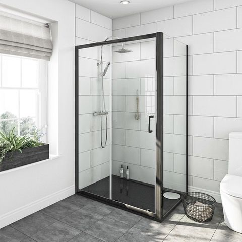Black Granite LH Rectangular Shower Tray 1200x800 | VictoriaPlum.com like the look of this shower tray