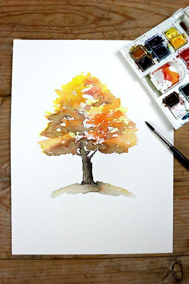 Es ist eine großartige Übung für Anfänger, die schönen Farben des Herbstes mit Wasserfarben zu mischen. - Künstler #fallbeauty