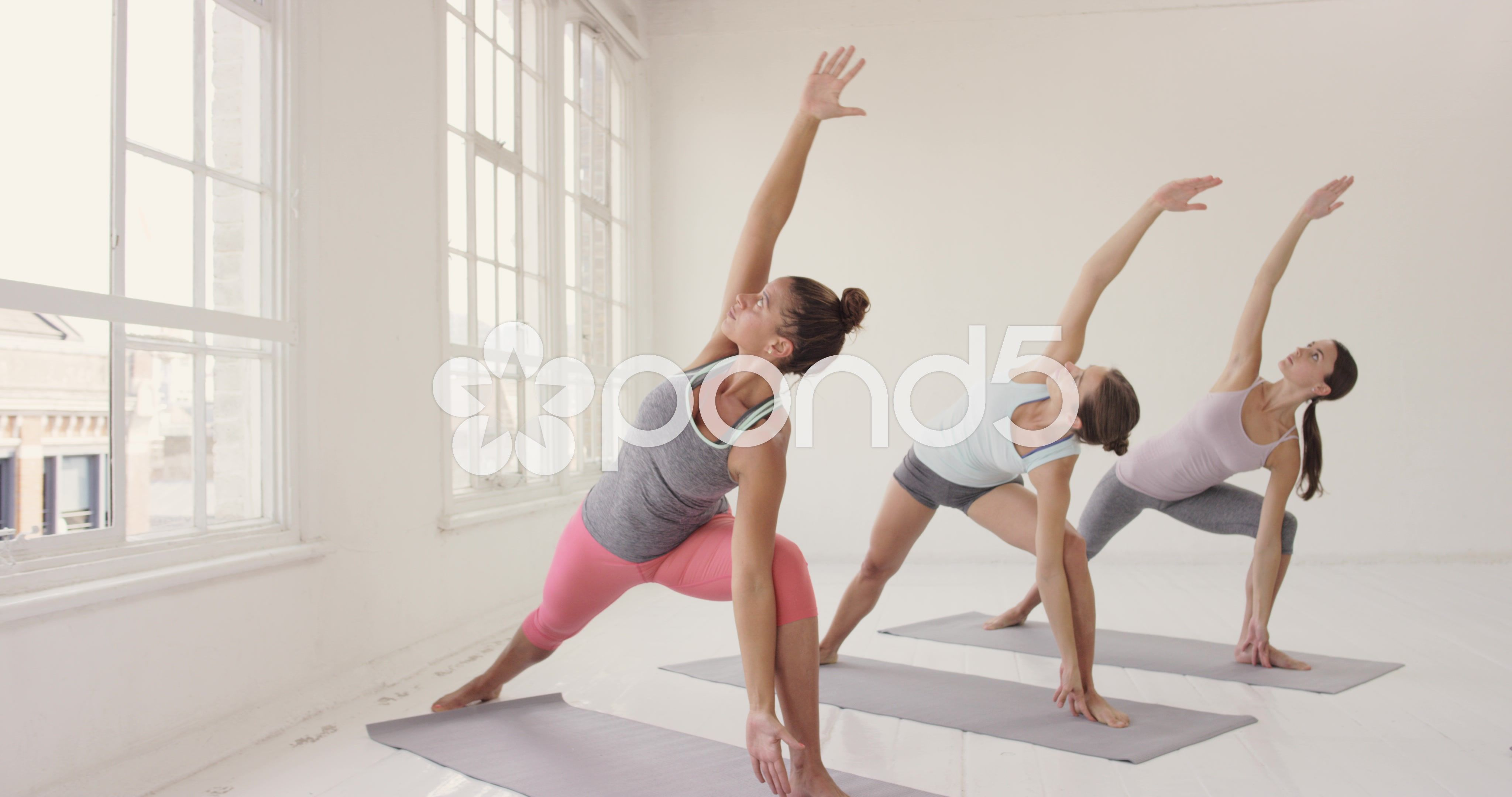 Yoga Class Multi Racial Group Of Women Exercising Fitness Healthy Lifestyle Stock Footage Racial Group Fitness Healthy Lifestyle Yoga Class Warrior Pose Yoga