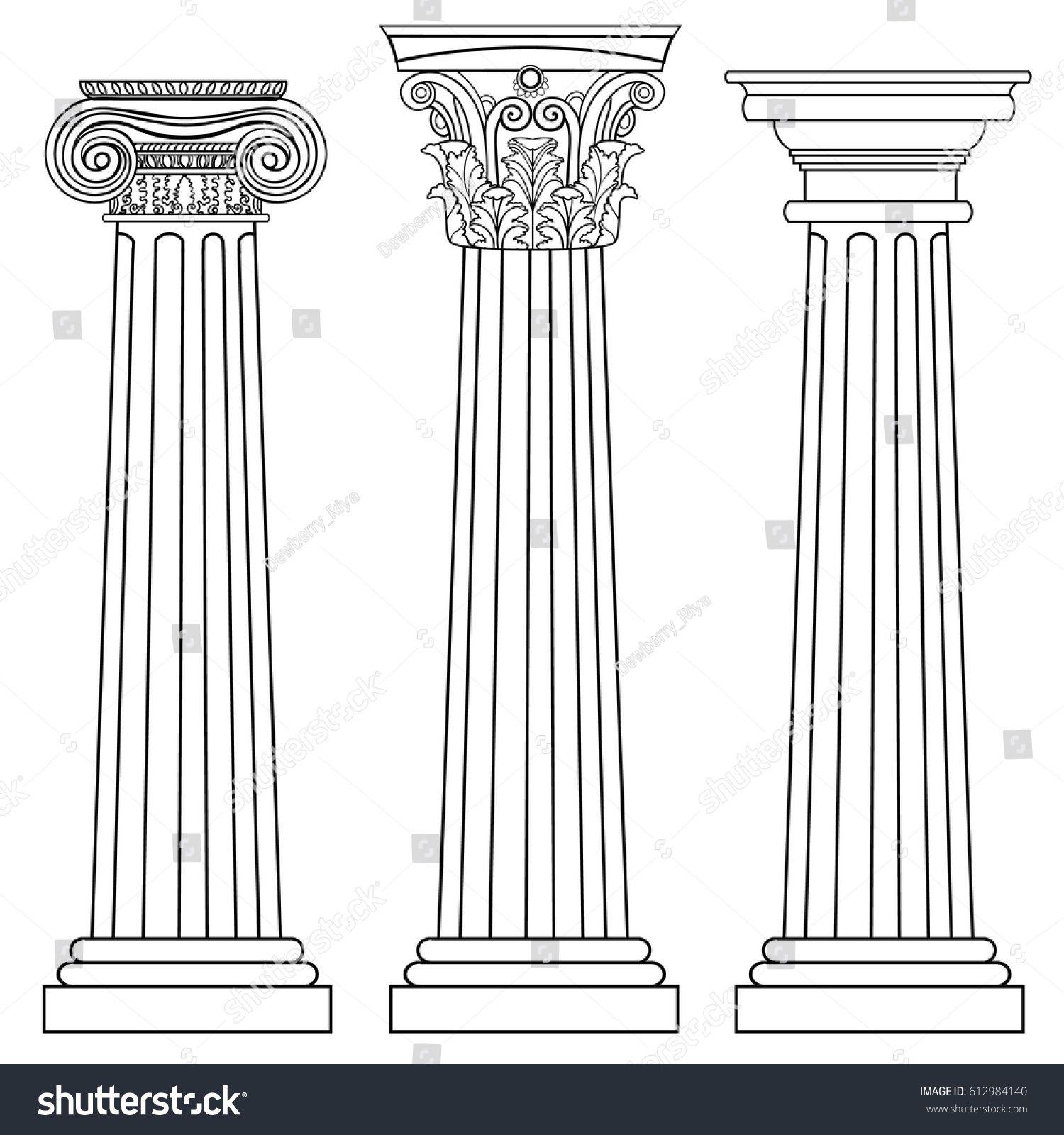 Stylized Greek Columns Doric Ionic Corinthian Columns