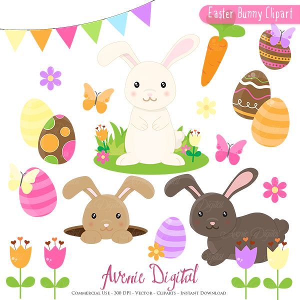 Easter Bunny Clipart Scrapbook printables, Spring clip art set for ...