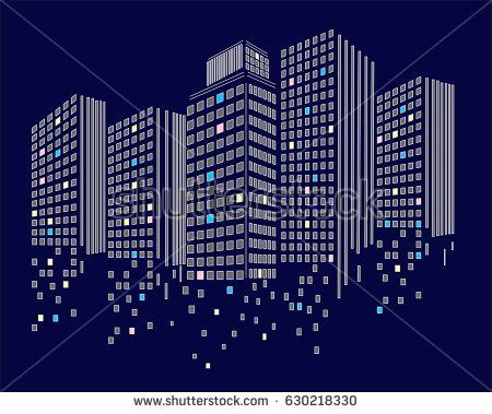 Pixel art design of building.Pixel art city. Modern design pattern ...