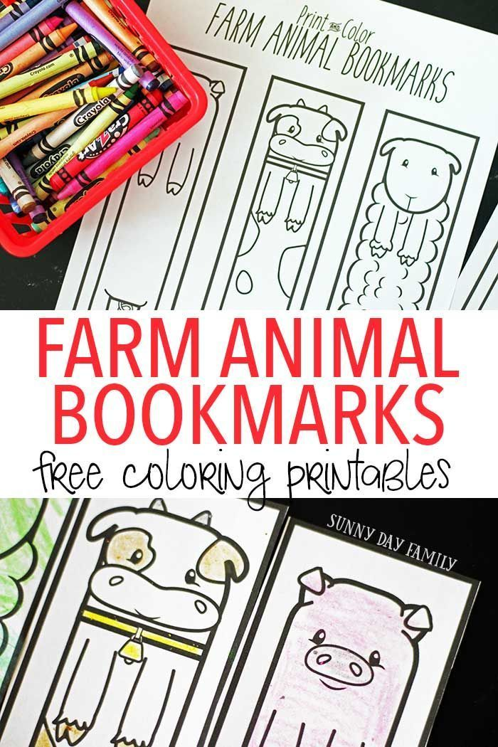 free printable farm animal bookmarks for kids to color farm preschool theme bookmarks kids. Black Bedroom Furniture Sets. Home Design Ideas