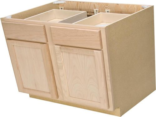 Quality One 36 X 34 1 2 Unfinished Oak Double Base Cabinet With Drawers At Menards 109 For Isla Unfinished Cabinets Base Cabinets Quality Kitchen Cabinets