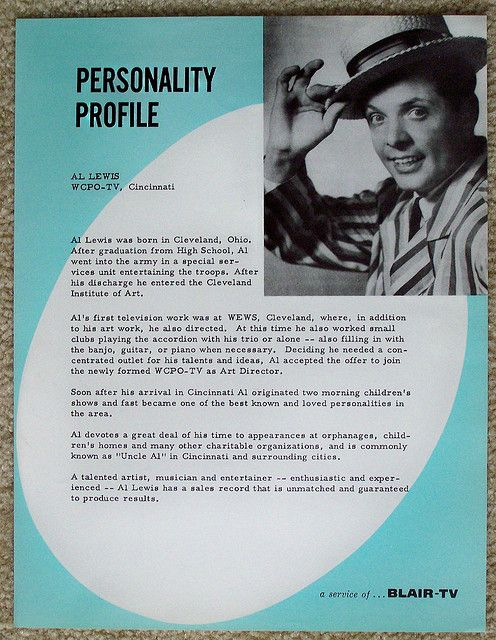 1950s Wcpo Tv 9 Personality Profile Page On Uncle Al Personality