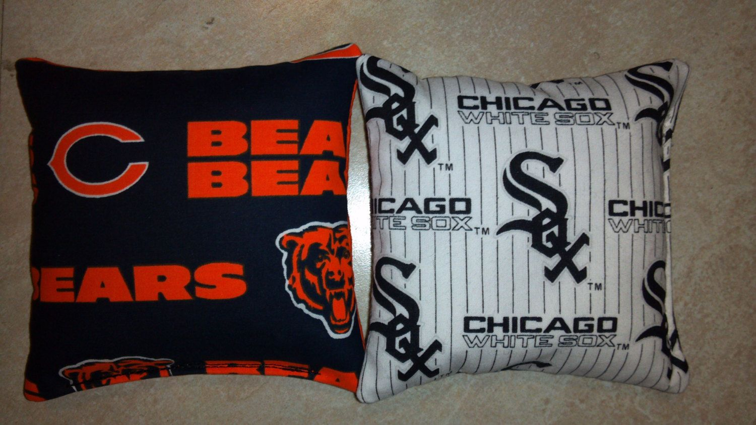 Chicago Bears and Chicago White Sox bean bags cornhole bags baggo regulation size and weight - set of 8