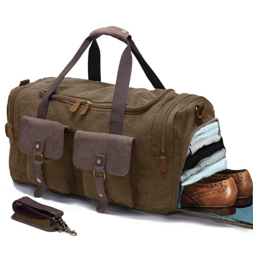f41e371f283 Canvas Duffle Bag Overnight Bags for Men Weekend Travel Duffel Weekender  Bags For Women Canvas Leather Gym Travel Shoulder Tote Carry On Luggage  Large with ...