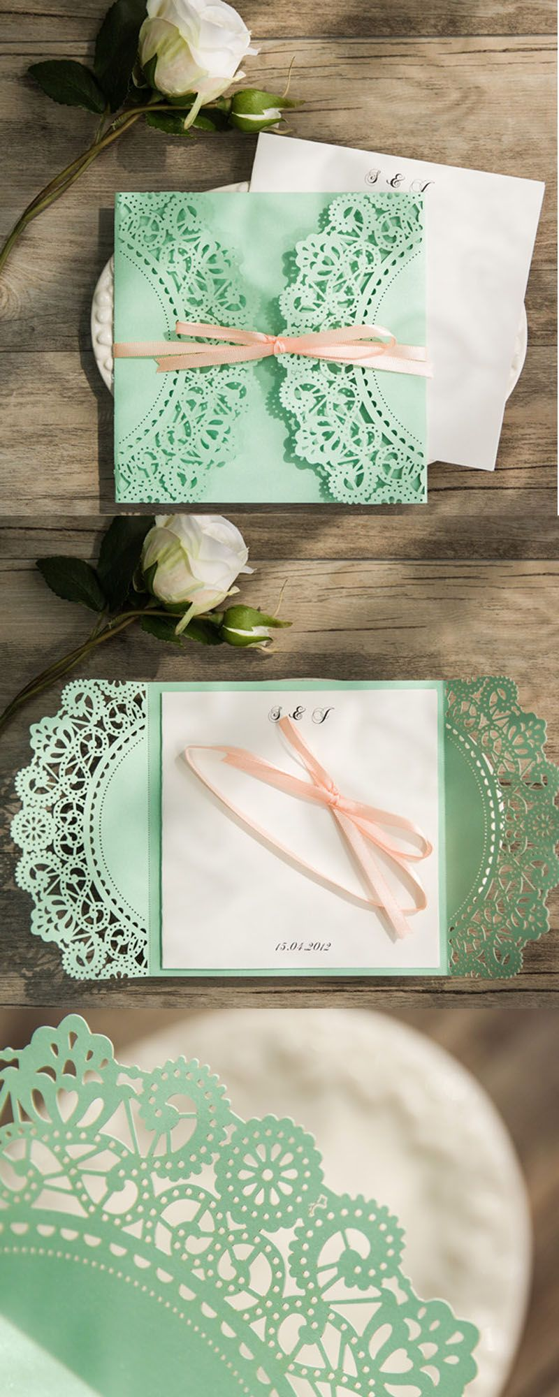 paper cut wedding invitations uk%0A Mint green wedding invitations  Doily laser cut wedding invitations