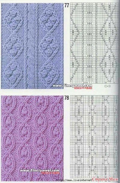 страна мам ажурные узоры схемы вязание спицами