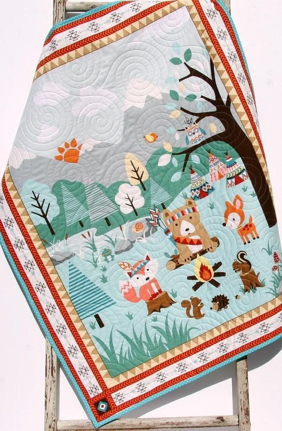Quilts, Baby Blanket, Woodland Baby Quilt, Nursery Decor