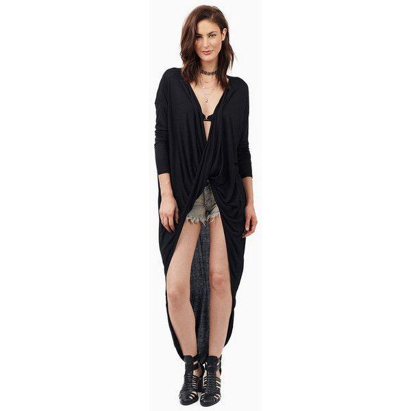 Tobi Draped In Tunic Top (195 QAR) ❤ liked on Polyvore featuring tops, tunics, black, drape top, draped wrap top, drapey top, wrap tunic and wrap top