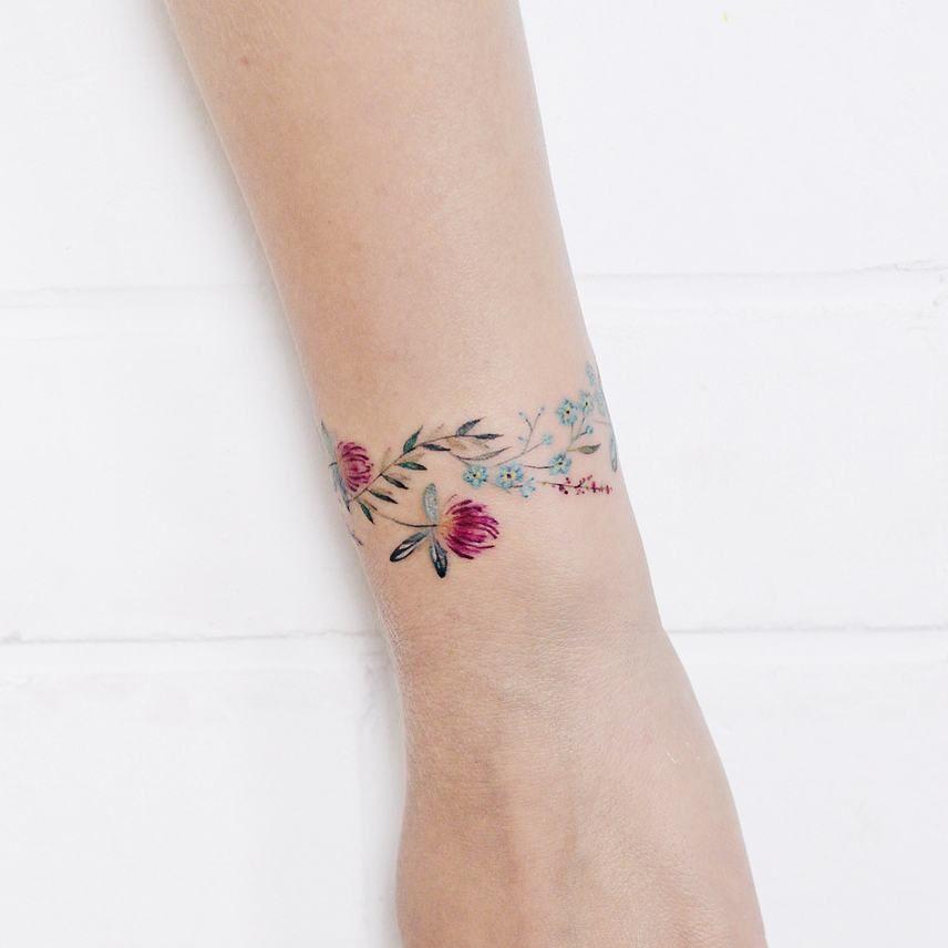 Floral Bracelet Wrist Tattoo Designs: Flower Bracelet By @lena_fedchenko · Moscow