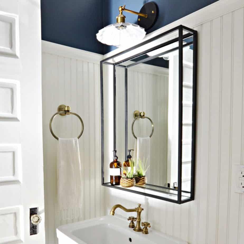 Modern Industrial Double Framed Steel Shelf Mirror Bathroom Mirror With Shelf Framed Bathroom Mirror Mirror With Shelf [ 924 x 924 Pixel ]