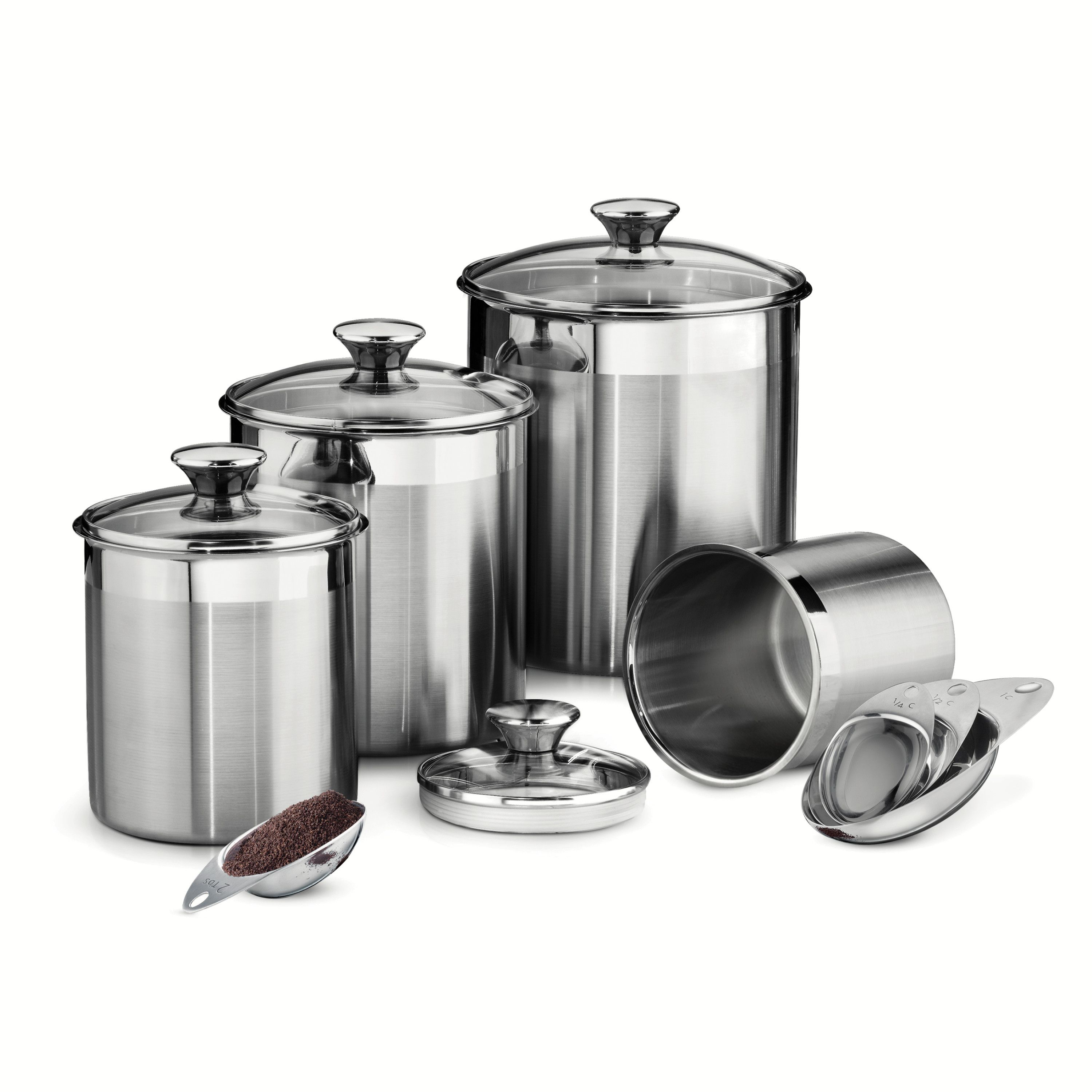 Tramontina Gourmet 8 Piece Stainless Steel Canister And Scoop Set. Kitchen  ...