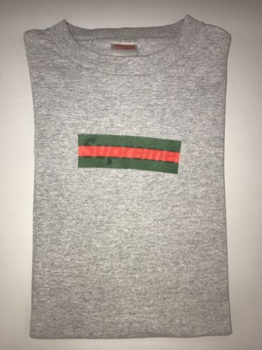 89615696fce 100% authentic Supreme x Gucci Box Logo T shirt Size Large Grey Rare Grail  Used