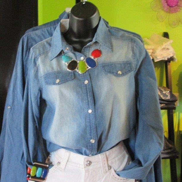 Denim Shirt with snap buttons: $25.00 | A Grand Affair by Memry - Metropolis, IL