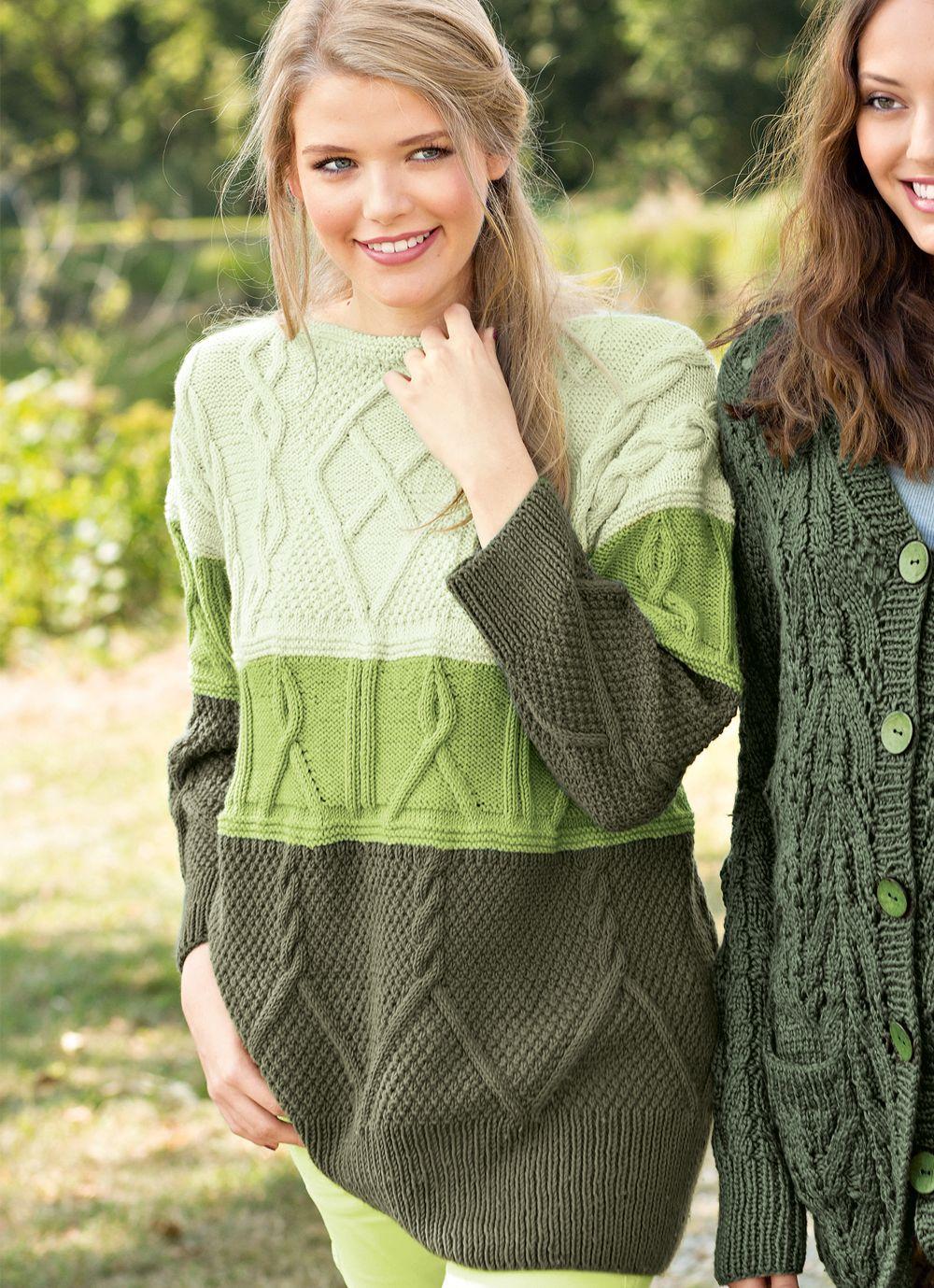 Джемпер со вставкой плетеного узора