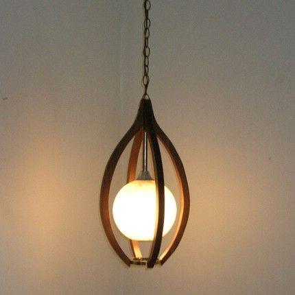 Danish Modern Teak Hanging Swag Lamp Moe Light Fixture