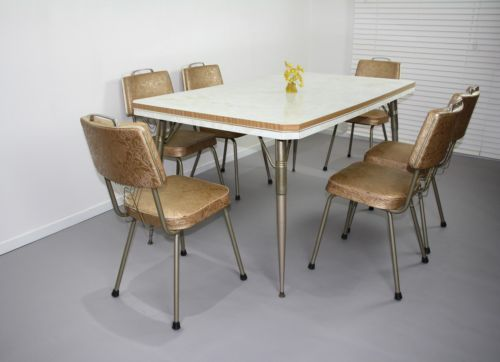 Retro Vintage Laminex Kitchen Table 6 Chairs 50s Laminate Dining